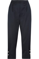 Mother Of Pearl Jewell Embellished Satin Tapered Pants Navy