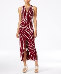 Material Girl Juniors' Tie Dyed Lace Up Maxi Dress Only At Macy's Zinfandel
