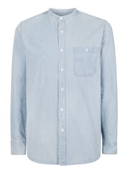 Topman Blue Bleach Wash Stand Collar Denim Shirt