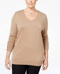 Jm Collection Plus Size V Neck Button Sleeve Sweater Only At Macy's Acorn Heather