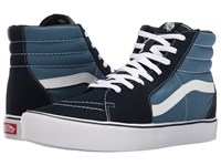 Vans Sk8 Hi Lite Suede Canvas Navy White Skate Shoes Blue