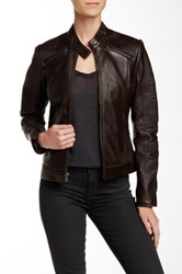 7 For All Mankind Genuine Leather Moto Jacket Brown