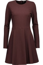 Theory Tillora Pleated Stretch Jersey Mini Dress Burgundy