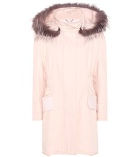 Fendi Cotton Twill Parka With Fur Pink