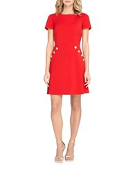 Tahari By Arthur S. Levine Petite Boatneck Short Sleeve Dress Red