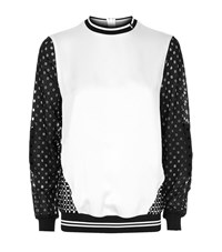 Versace Contrast Panel Perforated Sleeves Sweatshirt Female White