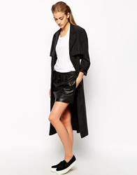 Mango Dolphin Leather Skirt Black
