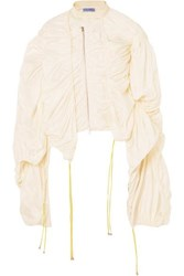 Thierry Mugler Raffia Trimmed Ruched Ripstop Top Off White