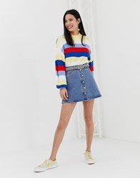 Monki Button Up A Line Skirt In Blue