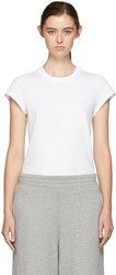 Alexander Wang T By White Cap Sleeve Fitted Bodysuit