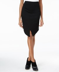 Kensie Envelope Hem Ponte Skirt Black