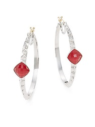 Stephen Webster Synthetic Red Coral And Sterling Silver Hoop Earrings 1.5 No Color