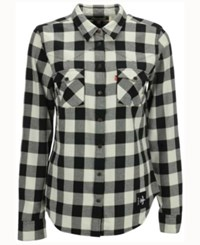 Levi's Women's New Orleans Saints Plaid Button Up Woven Shirt Black White