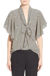 Women's Tracy Reese Flounced Tie Neck Print Silk Blouse