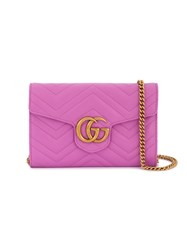Gucci Marmont Chevron Chain Wallet Bag Women Leather Metal One Size Pink Purple