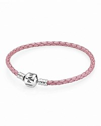 Pandora Design Pandora Bracelet Pink Leather Single Wrap With Sterling Silver Clasp Moments Collection Pink Silver