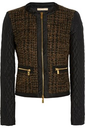 Michael Kors Metallic Boucle Tweed And Quilted Shell Jacket