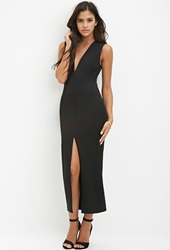 Forever 21 Backless High Slit Maxi Dress Black