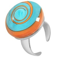Akuamarina Swirling Murano Glass And Sterling Silver Open Ring Light Blue Orange