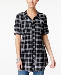 Style And Co Printed Roll Tab Blouse Only At Macy's Classy Black