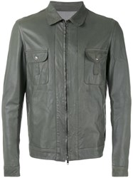 Salvatore Santoro Zipped Jacket Men Leather Viscose 54 Grey