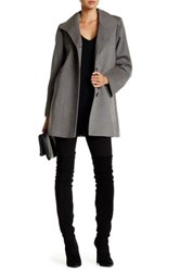 Fleurette Stand Collar Wool Blend Car Coat Gray