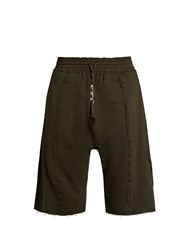 Damir Doma Parini Extended Seam Cotton Shorts Dark Green
