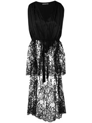 Alexander Mcqueen Long Tailed Sheer Lace Tunic Black
