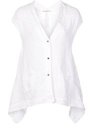 Transit Sheer Panel Button Up Shirt White