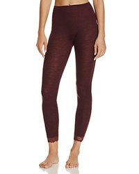 Hanro Woolen Lace Trim Leggings Pomegranate