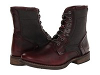 Caterpillar Abe Tx Oxblood Full Grain Leather Blackout Canvas Men's Lace Up Boots Tan