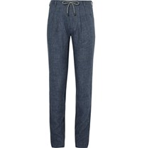 Brunello Cucinelli Drawstring Slub Linen Trousers Blue