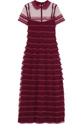 Red Valentino Redvalentino Lace Trimmed Point D'esprit Tulle Dress Burgundy