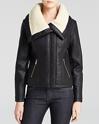 Sam Edelman Caitlyn Vegan Leather Jacket With Sherpa Collar