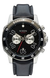 Men's Nixon 'The Ranger' Chronograph Leather Strap Watch 44Mm