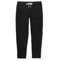 James Perse Knitted Cotton Blend Jersey Sweatpants Black