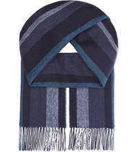 Johnstons Double Face Cashmere Scarf Navy Grey