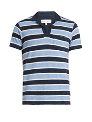 Orlebar Brown Terry Towelling Cotton Polo Shirt Navy Multi