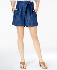 Tommy Hilfiger Belted Denim Shorts Created For Macy's Dark Wash