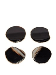Aerin Set Of Four Gold Plated Agate Coasters Brown Multi