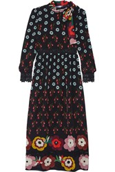 Red Valentino Redvalentino Lace Trimmed Printed Silk Crepe De Chine Dress Black Blue