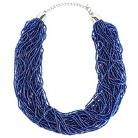 John Lewis Seed Bead Statement Layered Necklace Electric Blue