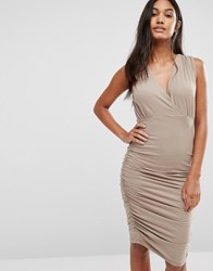 Supertrash Day Ruched Sleeveless Dress Beige