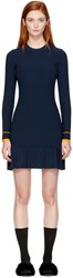 3.1 Phillip Lim Navy Long Sleeve Pleated Dress