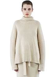 Lauren Manoogian Ribbed Knit Roll Neck Sweater Beige
