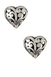 Lois Hill Sterling Silver Signature Scroll Heart Stud Earrings Metallic