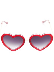Linda Farrow Gallery Heart Shaped Gradient Sunglasses Red