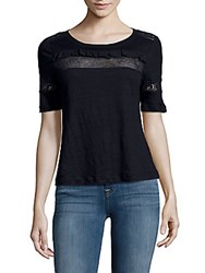 Rebecca Taylor Linen Lace Tee Navy