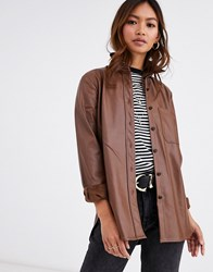 Pimkie Faux Leather Shirt In Brown