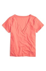 J.Crew Women's Supima Cotton V Neck Tee Neon Coral